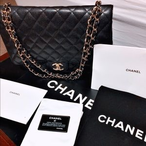 Chanel Double Flap Caviar Maxi Classic Bag